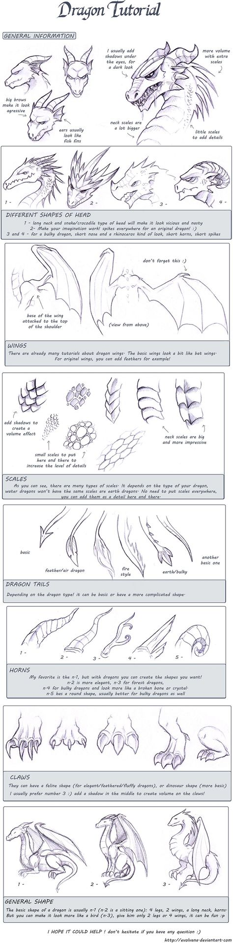 Dragon tutorial by Evolving.deviantart.com ~ love this... Its fun to draw fantasy animals & let your mind go wherever, cause there's no right or wrong with a mythical subject!