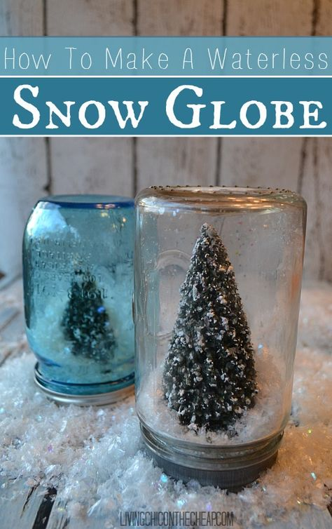 **How To Make A Waterless Snow Globe** Here is a fun and super easy winter/holiday craft- DIY Waterless Snow Globes. You can totally make these on the cheap. They look great on a mantle or on a table. #DIY #holiday #winter