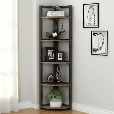 Rustic Brown Wood Metal Corner Etagere 5 Shelf Tier Plant Stand Storage Display Corner Shelves Corner Storage Shelves Shelves