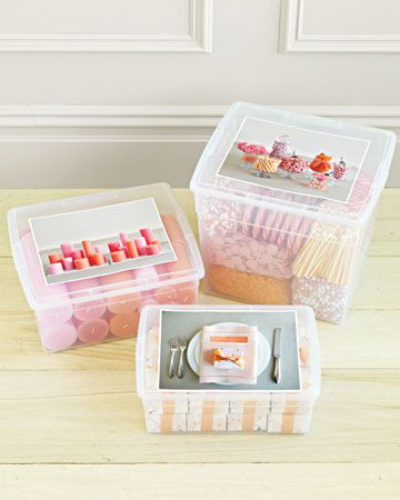 Take a picture of exactly how something is supposed to look (i.e. centerpieces, place sttings, candy buffett, etc.) then place it on the container that has all the pieces inside it. That way whoever is setting it up has no questions and knows exactly what the end product should look like.