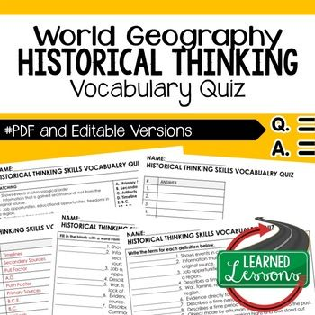 Historical Thinking Vocabulary Quiz Geography Assessment
