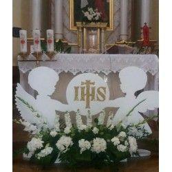 2 Duze Anioly Pod Oltarz Na Pierwsza Komunie First Communion Decorations Church Altar Decorations Communion Decorations