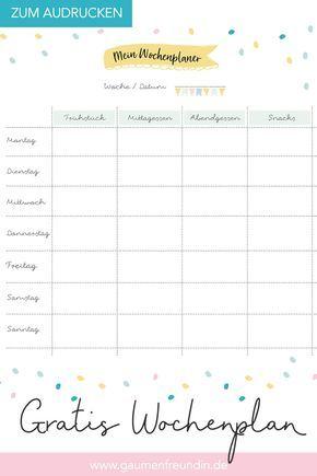 Gratis Wochenplan Vorlage Zum Ausdrucken 8