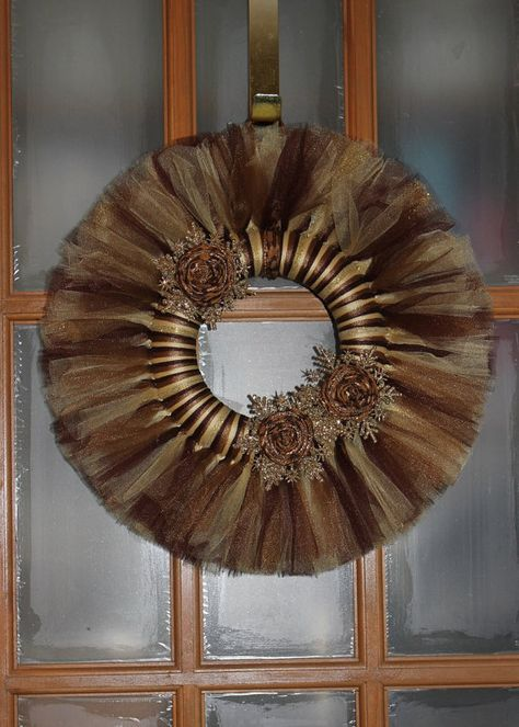 NEW 8 WREATHS Brown Tan and Gold Tulle Wreath by DeckedOutDakota, $20.00