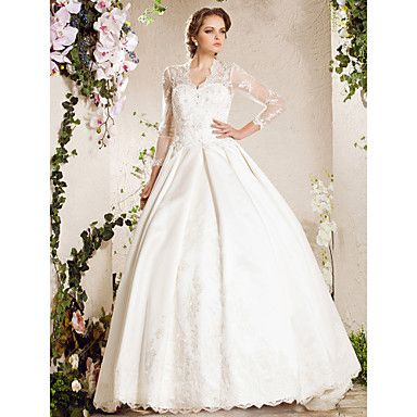 A-line Sweetheart Chapel Train Lace Satin Wedding Dress Inspired By Kate Middleton  – CAD $ 760.98