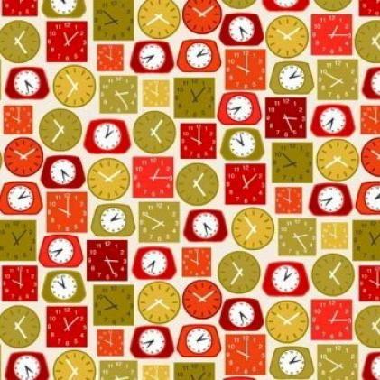 Makower Lila/'s Kitchen Clocks Red 100/% Patchwork Cotton Fabric Patchwork