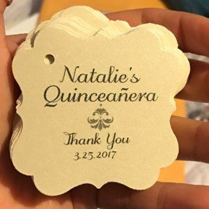 2 Quinceanera Gracias Favor Thank You Hang Tag Personalized Gift