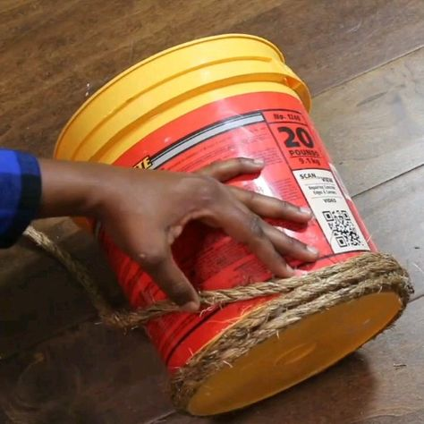 DIY How to Tutorial how to upcycle or repurpose an old bucket to make a trash can or waste basket for your office, bedroom or bath.