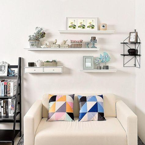 43c35288c4c7c Dover 24 in. x 8 in. Floating White Ledge Decorative Shelf ...