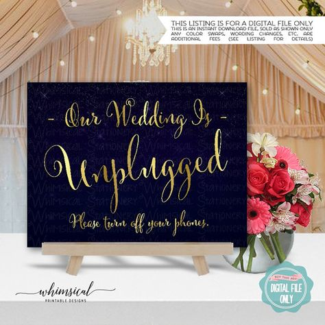 Navy Blue Burlap Lace Unplugged Wedding No Phones Personalised Wedding Sign