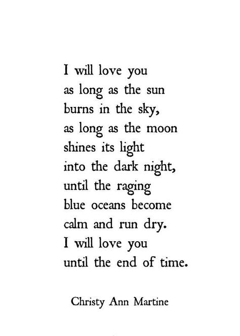 Anniversary Gifts for Men and Women - Poem Print - I Will Love You As Long as the Sun Burns in the S
