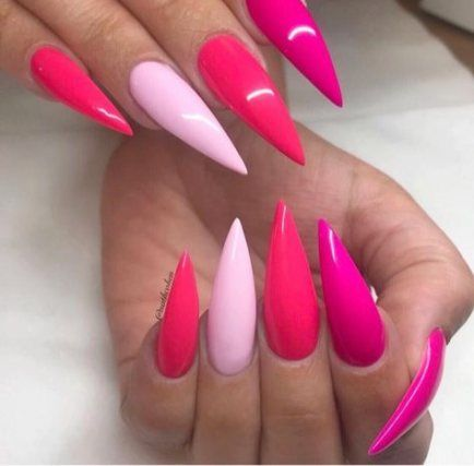 23+ Trendy Nails Stiletto Pink Roses