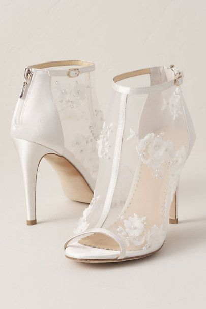 Bella Belle Floral Chiffon Bootie In White Size 6 Pink