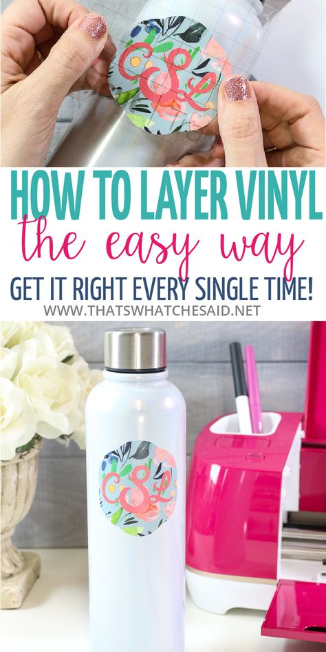 A foolproof method to layer vinyl that gives you perfect results every time and expands your vinyl options tremendously! Step by step photo tutorial to help you master Vinyl Layering! Crafts How to Layer Vinyl - The Easy Way Vinyl Crafts, Diy And Crafts, Cricut Vinyl Projects, Paper Crafts, Vinyl For Cricut, Easy Crafts, Cricut Air 2, Cricut Explore Projects, Cricut Fonts