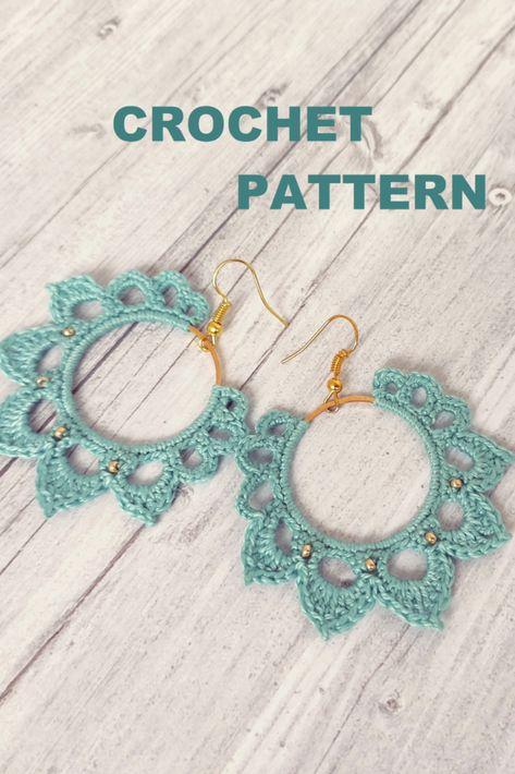 PDF Tutorial Crochet Pattern, Boho earring pattern, crochet hoop Earrings Pattern Crochet Earrings Pattern, Crochet Jewelry Patterns, Crochet Accessories, Diy Earrings Crochet, Crochet Jewellery, Crochet Bracelet, Thread Crochet, Crochet Crafts, Crochet Yarn