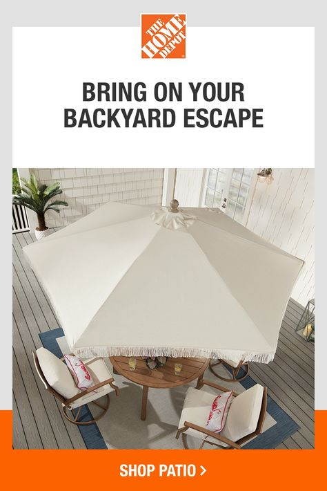 Bring on everything you need for your outdoor space with top brands like Hampton Bay at The Home Depot. From umbrellas to dining sets and more, we have everything you need to create your backyard escape. Tap to shop our selection of patio styles, and bring on spring with help from The Home Depot.