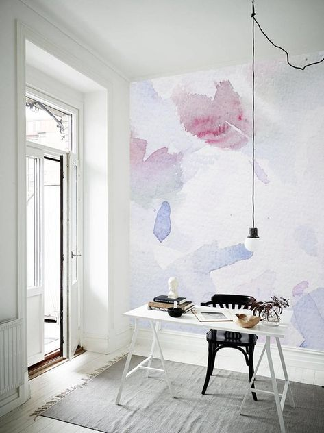 Abstract Watercolor Wall mural, Abstract Wallpaper, Peel and stick, Removable Wallpaper, Wall decal, Wall covering, Blue Painting, Art #3
