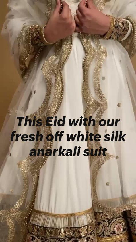 This Eid with our fresh off white silk anarkali suit
