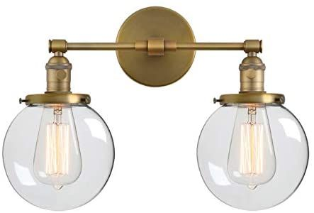 Phansthy Double Sconce Vintage Industrial 2 Light Wall Light With 5 9 Inches Clear Glass Canopy Antique In 2020 Bronze Light Fixture Wall Lights Industrial Wall Lamp