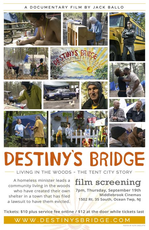 Destiny's Bridge at Middlebrook Cinemas. 7pm 1502 Rt. 35 So. Ocean Township, NJ Tickets are available for the film at the Movie Website.  www.DestinysBridge.com