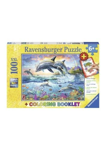 Vibrant Dolphins 100 Piece Ravensburger Puzzle And Coloring Book Piece Vibrant Dolphins Coloring Books Book Pieces Ravensburger Puzzle