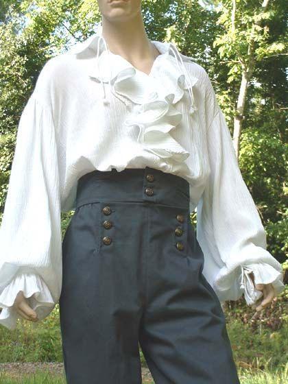 Womens Black Satin Pirate Shirt Blouse