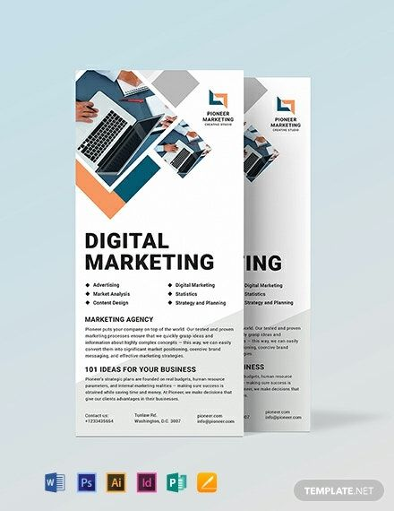 Marketing Agency Rack Card Template Pdf Word Doc Psd Indesign Apple Mac Pages Illustrator Publisher Rack Card Templates Marketing Business Card Rack Card