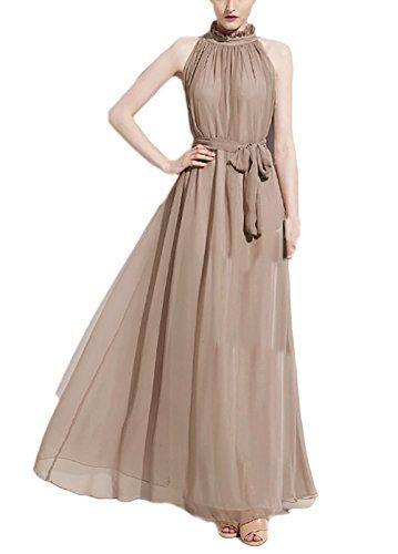 11ed79d58ec6 Donna Vestiti Lunghi Eleganti Da Cerimonia Estivi Chiffon Delle Abito Da  Damigella Puro Colore A Pieghe