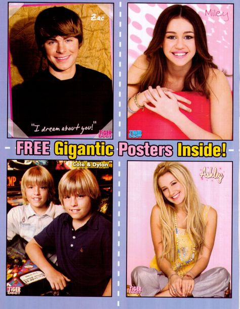 3 POSTERS Centerfold Lot 748A Ashley Tisdale of High School Musical Miley Cyrus