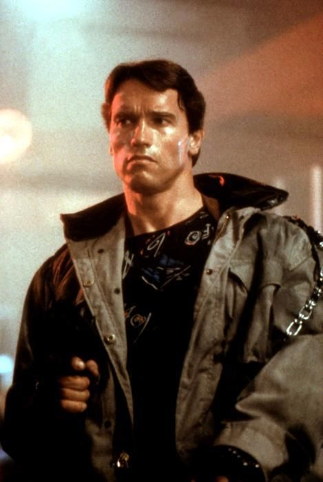 Arnold Schwarzenegger as The Terminator from 1984. Directed by James Cameron