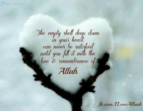 If you fill the empty space with Allah, you will be content. Islam.