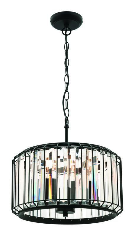 Olympia 3 Light Pendant Matt Black Crystal Pendant Lighting Buy