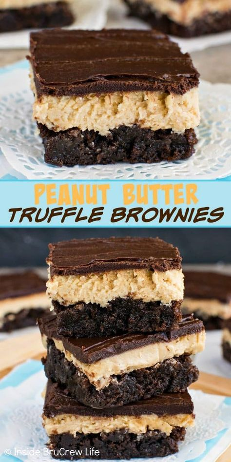 Peanut Butter Truffle Brownies - layers of chocolate and peanut butter add so much flavor and fun to these easy brownies. Make this dessert for parties and events and watch it disappear! #brownies #peanutbutter #chocolate #recipe #bestdessert