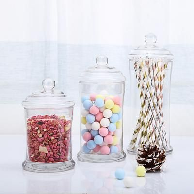 Set Of 3 Glass Apothecary Candy Jars With Lids 7 9 10 In 2020 Jar Glass Canister Set Clear Glass Jars