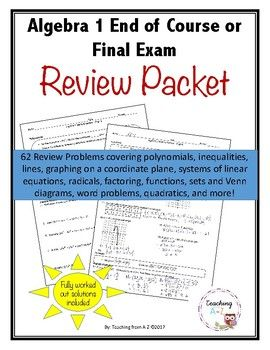Algebra 1 Mastery Review Packet For Eoc Or Final Exam Algebra