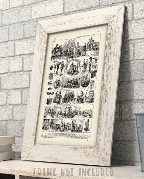 Vintage French Wine Making Illustration Great Gift 11x14 Unframed Art Print