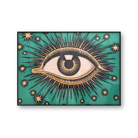 All Seeing Eye   Evil Eye   Fine Art Reprint on Canvas   Mystic  Art Deco