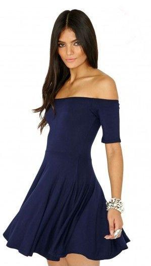 2cadb1832752 short sleeve level neckline shoulder less loose hem short strapless dress  pattern