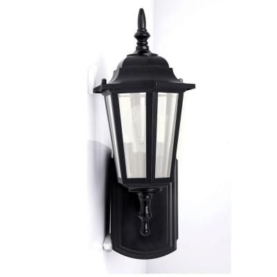 exterior wall lantern with built in electrical outlet. hampton bay coach style reversible outdoor matt black wall lantern with built-in electrical outlet (gfci)-30266 - the home depot | lighting exterior built in