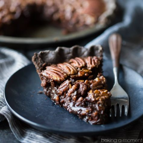 Double Chocolate Pecan Pie: So decadent! Loved the flaky chocolate crust, and the filling tastes just like a candy bar. #chocolate #pecanpie #easy #recipe #bourbon #nocornsyrup #best #withcocoa #dark #homemade #bakingamoment
