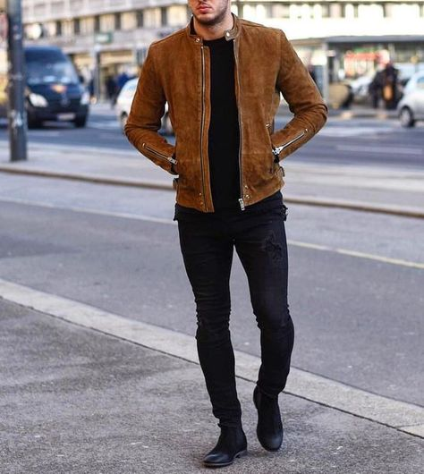 Men Tan brown fashion suede jacket, Men biker style casual fashion jacket sold by Rangoli Collection. Shop more products from Rangoli Collection on Storenvy, the home of independent small businesses all over the world.