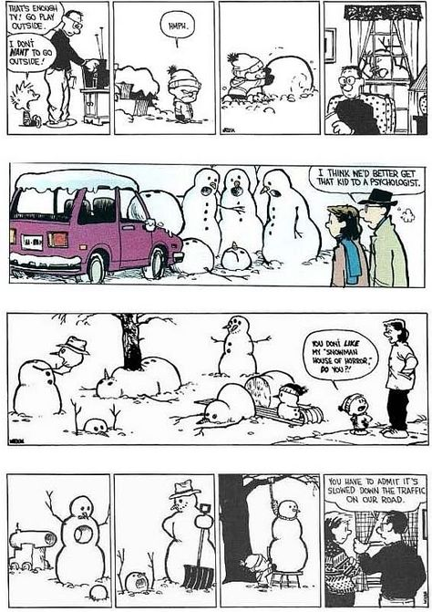 "Quoting wikipedia, ""Calvin and Hobbes is a daily American comic strip created by cartoonist Bill Watterson that was syndicated from November Calvin And Hobbes Comics, Calvin And Hobbes Snowmen, Calvin And Hobbes Quotes, Bd Comics, Funny Comics, Calvin And Hobbes Christmas, Hobbes And Bacon, Chemistry Cat, Beste Comics"