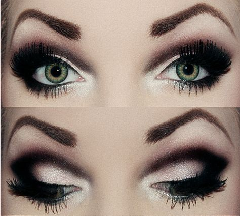 Smoky eye with heavy black dramatic crease eye make up #makeup #eyes #eyeshadow
