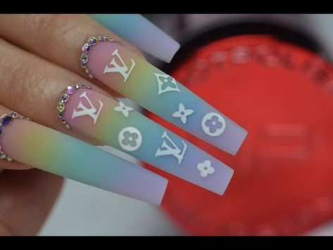 Cute Nail Designs, Acrylic Nail Designs, Louis Vuitton Nails, How To Do Ombre, Tribal Nails, Aycrlic Nails, Fire Nails, Pin On, Luxury Nails