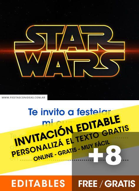 8 Tarjetas De Cumpleaños De Star Wars Gratis Para Editar
