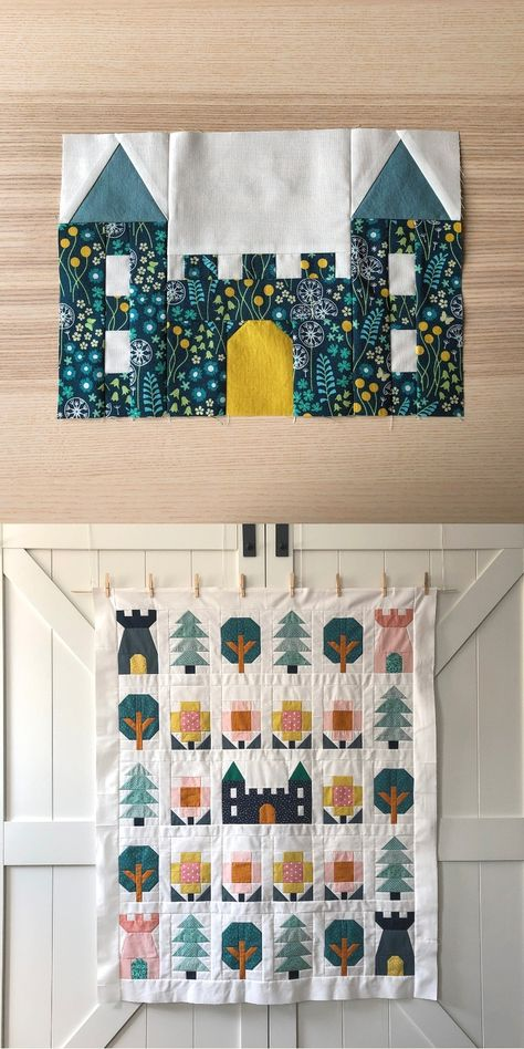 C$7 · Use these sweet and versatile castle and tower quilt blocks to make cushion covers, wall hangings or entire quilts for your little ones! 💛 House Quilt Patterns, House Quilt Block, Quilt Blocks, Heart Quilt Pattern, Quilt Block Patterns, Quilt Baby, Boy Quilts, Plaid Patchwork, Patchwork Quilting