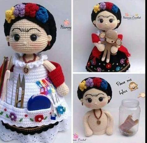 Klicke um das Bild zu sehen. Linda muñeca de Frida khalo guarda cosas de costura con frasco de vidrio en la parte interna, hecho en crochet. - #Con #cosas #costura #Crochet #de #en #frasco #Frida #guarda #hecho #interna #khalo #La #Linda #muñeca #parte #vidrio