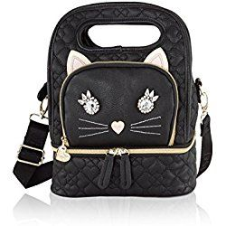 4dcdb123008e Cat Lunch Bag Betsey Johnson Insulated Snack Lunch Tote Bag - Black ...