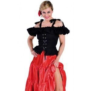 Déguisement blouse Carmen noire luxe femme, années 50-60, rock'n roll, f^tes, Magic by Freddy's.