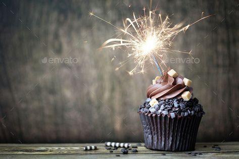 Chocolate cupcake by RuthBlack. Chocolate cupcake with a sparkler#cupcake, #Chocolate, #sparkler, #RuthBlack